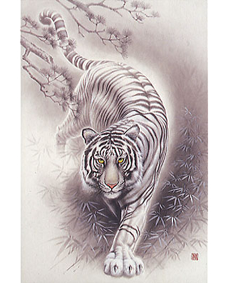 White tiger japanese design 2016 very small piece jigsaw for White tiger tattoo
