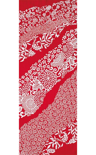 Flower Flow - Tenugui (Japanese Multipurpose Hand Towel) - Crimson