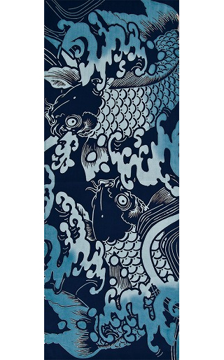 Koi Amidst Surf - Tenugui (Japanese Multipurpose Hand Towel) - Indigo
