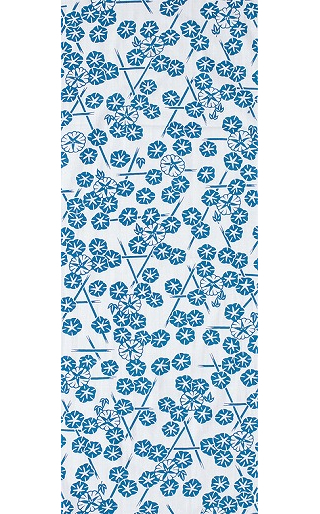 Morning Glory in the Summer - Mini Tenugui (Japanese Multipurpose Hand Towel) - Blue