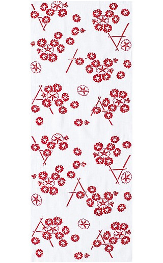 Morning Glory on Bamboo Fence - Mini Tenugui (Japanese Multipurpose Hand Towel) - Pink