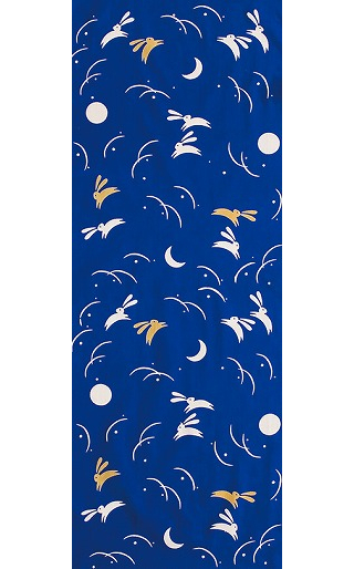 Rabbits in the Moonlight - Mini Tenugui (Japanese Multipurpose Hand Towel) - Blue