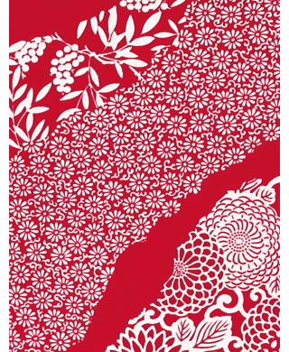 Flower Flow - Mini Tenugui (Japanese Multipurpose Hand Towel) - Crimson