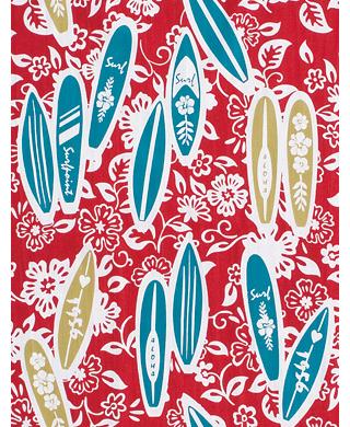 Surfing - Mini Tenugui (Japanese Multipurpose Hand Towel) - Red