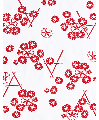 Morning Glory on Bamboo Fence - Mini Tenugui (Japanese Multipurpose Hand Towel) - Pink