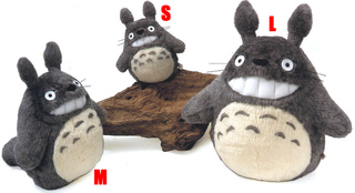 Smiling  O-Totoro Plush Dark Gray (L)