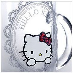 Sanrio Hello Kitty × Crysyal Scene mug glass (frame) Candy Red