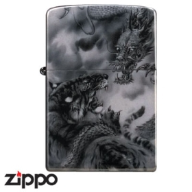 Dragon Zippo - Dragon and Tiger - Black Titanium
