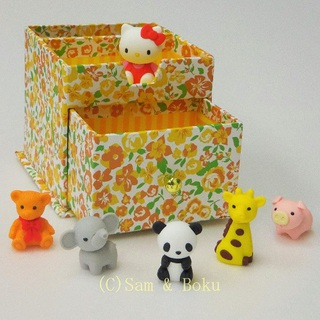 Japanerse Erasers Hello Kitty and Cute Zoo, With storage box.