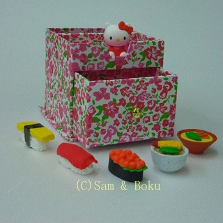 Japanese Erasers Hello Kitty and Japanese foods,With storage box.