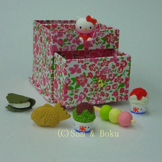 Japanese Erasers Hello Kitty and Japanese confectionery,With storage box.