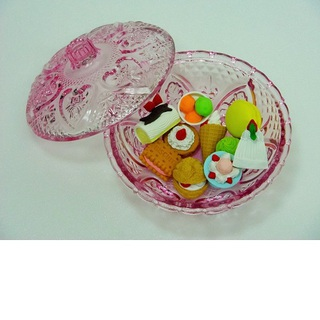 iwako Japanese Erasers, Delicious 10 kinds of sweet. Glass bowl is equipped with.