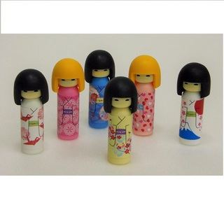 "iwako Japanese Erasers,Cute six ""Kokeshi"". Decorative shelf is equipped with."