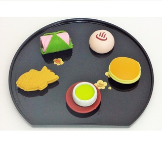iwako Japanese Erasers, Tea and Delicious for Japanese sweet. Japanese Tray equipped with.