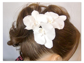 This is a hair accessory with a set of three elegant and gorgeous phalaenopsis orchids