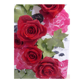 [Canvas arrangement of Preserved Flowers / magic of red roses and ivy]