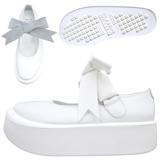 TOKYO BOPPER No.877 /  White smooth ribbon shoes