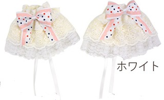 Princess ribbon & lace cufflinks 【Sleeve/ Moe sleeve /Lolita fashion/Accessories】- white
