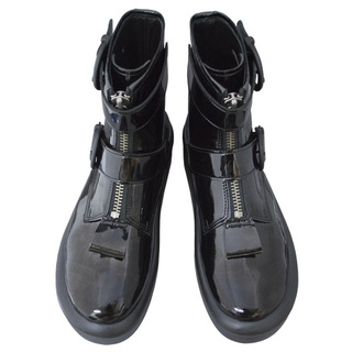TOKYO BOPPER No.892 /  Black Clarino Enamel belted boots