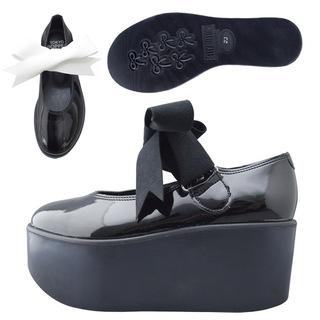 TOKYO BOPPER No.126 / Black Clarino Enamel ribbon shoes