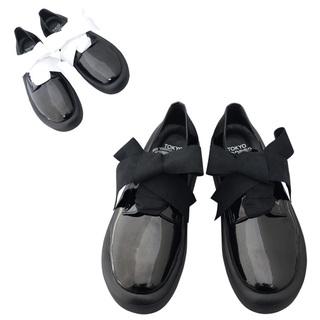 TOKYO BOPPER No.875 /  Black Clarino Enamel ribbon shoes