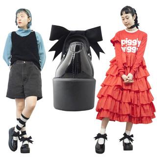 TOKYO BOPPER No.877 /  Black Clarino Enamel ribbon shoes