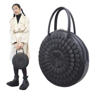 TOKYO BOPPER No.11183A/ Real leather Round handbag Milk-crown / Black