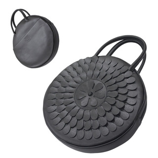 TOKYO BOPPER No.11183A/ Real leather Round handbag Milk-crown / Black