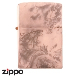 Dragon Zippo - Dragon and Tiger - Brass