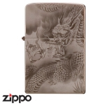 Dragon Zippo - Laser Etched Storm Dragon - Brown