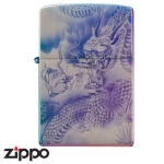 Dragon Zippo - Laser Etched Storm Dragon - Rainbow