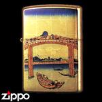 Zippo - Gold Leaf Artwork - Hokusai's Under Mannen Bridge at Fukagawa