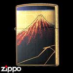 Zippo - Gold Leaf Artwork - Hokusai's  Rainstorm Beneath the Summit