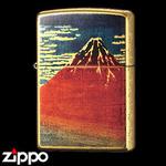 Zippo - Gold Leaf Artwork - Hokusai's Red Fuji