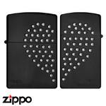 Pair Zippo - Swarovski Heart  (Black Nickel)