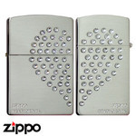 Pair Zippo - Swarovski Heart  (Silver Satina)