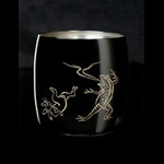 Titanium Japanese Lacquer Cup by Rhus  (Animal Caricatures)