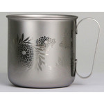 Titanium Mug Cup - Chrysanthemum  (Siver)