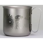Titanium Mug Cup - Chrysanthemum  (Siver)