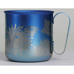 Titanium Mug Cup - Chrysanthemum  (Blue)