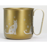 Titanium Mug Cup - Cat  (Gold)