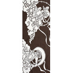 Gods of Wind and Thunder - Tenugui (Japanese Multipurpose Hand Towel) - Bistre Brown