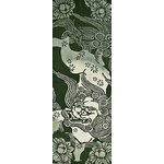 Lion and Poeny - Tenugui (Japanese Multipurpose Hand Towel) - Green