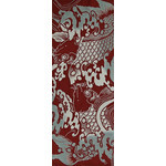Koi Amidst Surf - Tenugui (Japanese Multipurpose Hand Towel) - Crimson