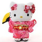 Hello Kitty Plush Doll fine wrinkles Chirimen L size 27cm
