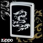 Dragon Zippo - Flame Dragon (Chrome Black II)