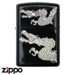 Dragon Zippo - Twin Dragon - Silver
