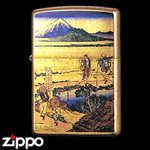 Zippo - Gold Leaf Artwork - Hokusai's Nakahara in Sagami Province