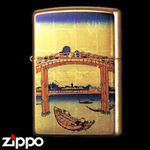 Zippo - Gold Leaf Artwork - Hokusai's Under Mannen Bridge at Fukagawa