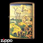 Zippo - Gold Leaf Artwork - Hokusai's Goten-yama-hill, Shinagawa on the Tokaido
